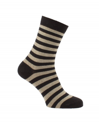 Chaussettes rayures fines noir et beige
