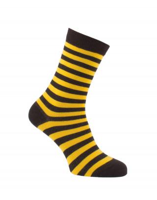 Chaussettes rayures fines noir et jaune