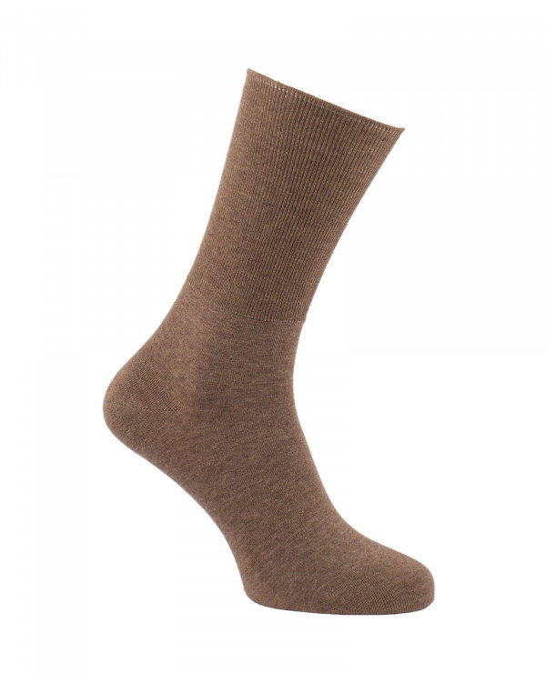 Chaussettes non comprimantes en coton marron
