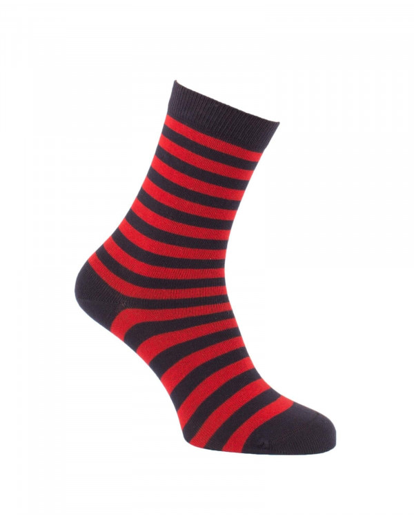 Chaussettes rayures fines marine et rouge