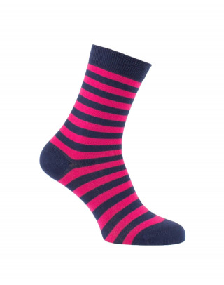 Chaussettes rayures fines marine et fuschia