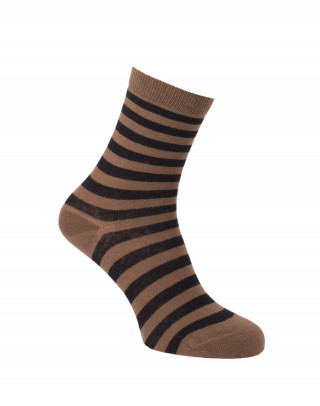 Chaussettes rayures fines caramel