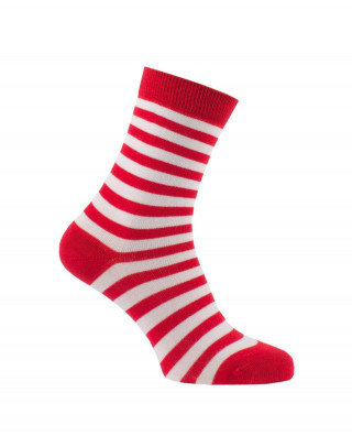 Chaussettes rayures fines rouge et blanc