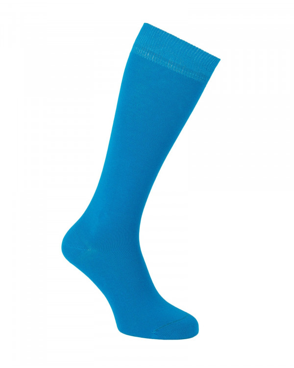Mi-bas unis en coton bleu turquoise