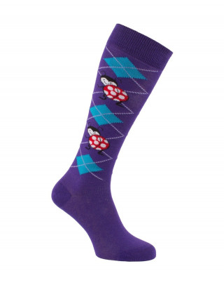 Mi-bas Coccinelles violet turquoise