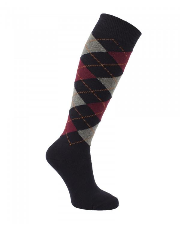 Chaussettes d'équitation molletonnées chaudes pour l'hiver écossaises, à losanges, noir