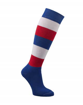 Padded tricolour striped riding socks (31 to 36)