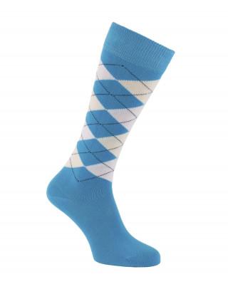 Chaussettes d'équitation à losanges, écossaises, bleu