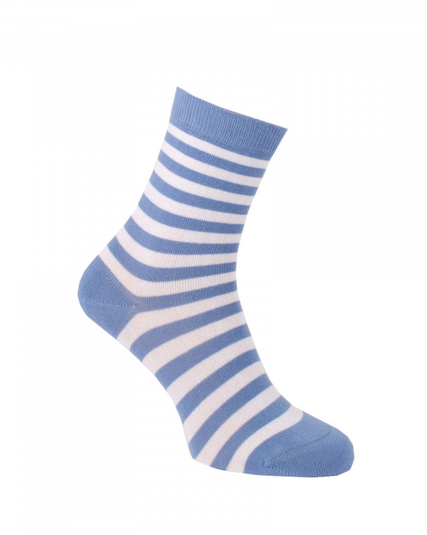 Chaussettes rayures fines bleues
