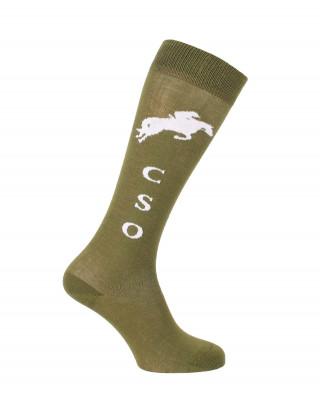 Chaussettes d'équitation Champion CSO vert olive