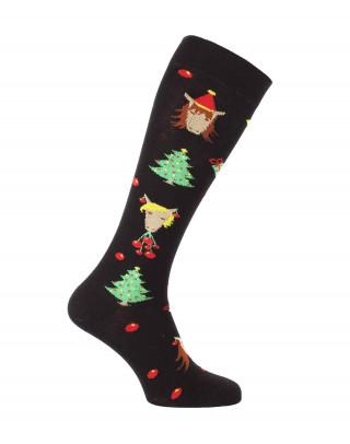 chaussettes équitation de Noël noires avec chevaux profil