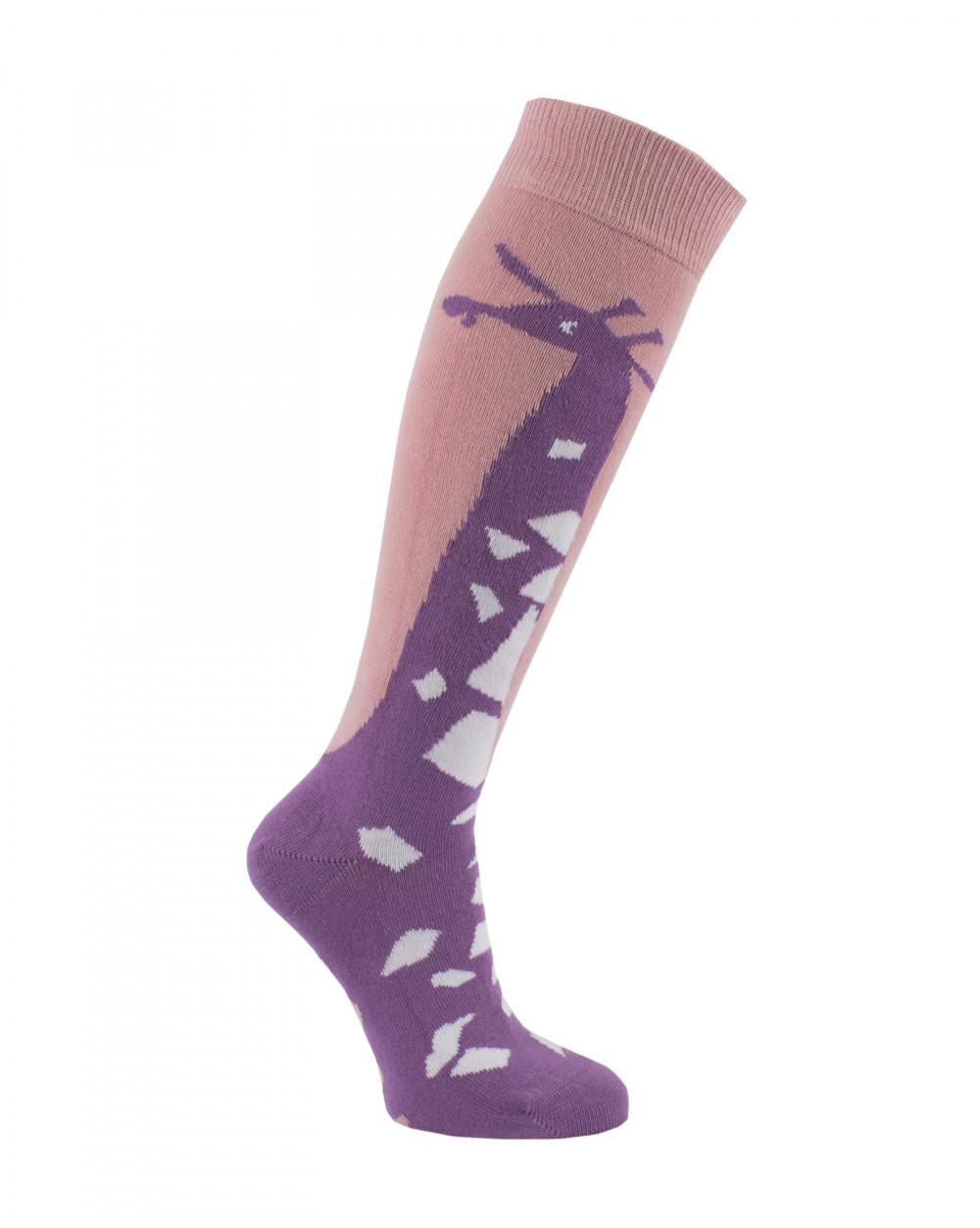 Chaussettes d'équitation Girafes violet