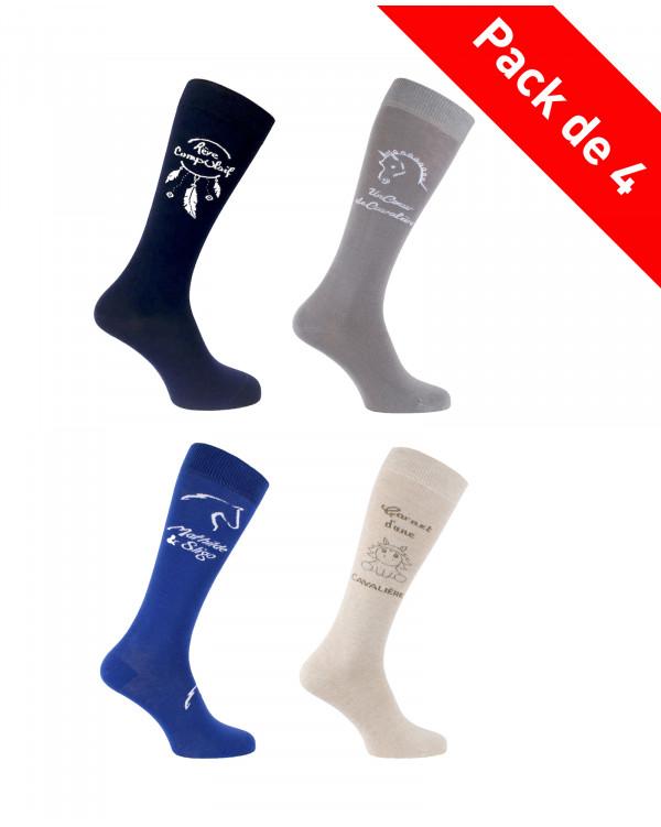 Lot de 4 paires chaussettes équitation youtubeuses Rêve Compulsif Carnet d'une Cavalière Un Cœur de Cavalière Mathilde et Sligo