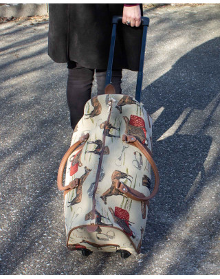 Travel bag on wheels with horse motives