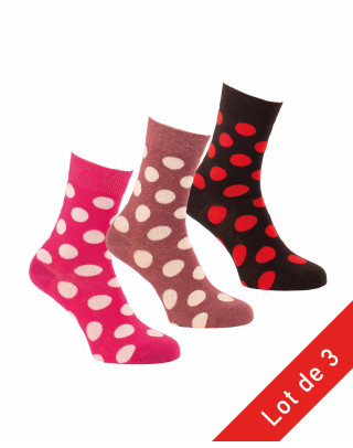 Pack of 3 pairs of socks with large dots